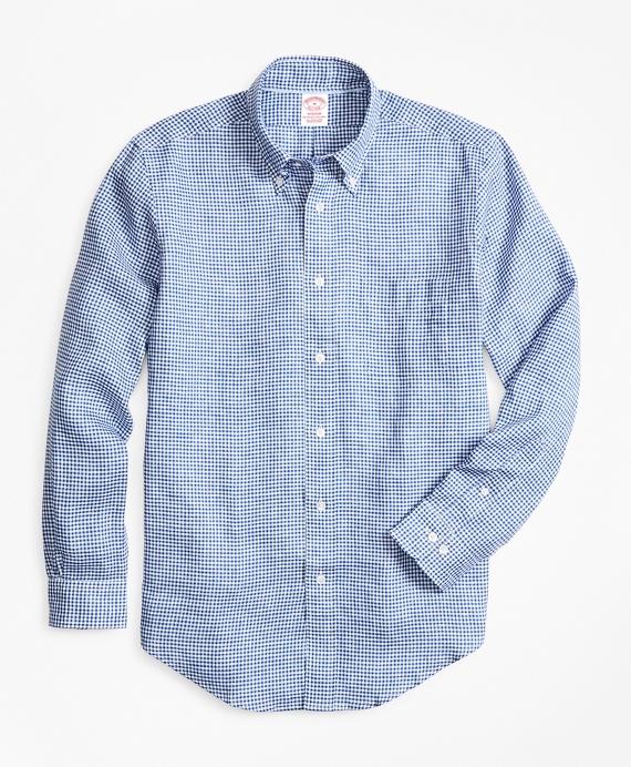 Madison Fit Small Gingham Irish Linen Sport Shirt Blue