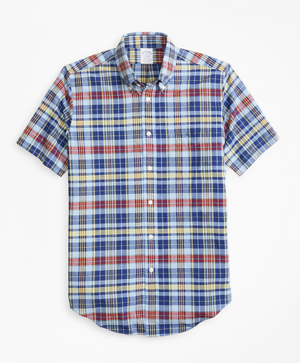 Regent Fit Blue and Yellow Madras Short-Sleeve Sport Shirt