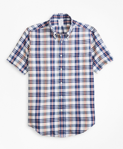 Regent Fit Blue and Red Madras Short-Sleeve Sport Shirt