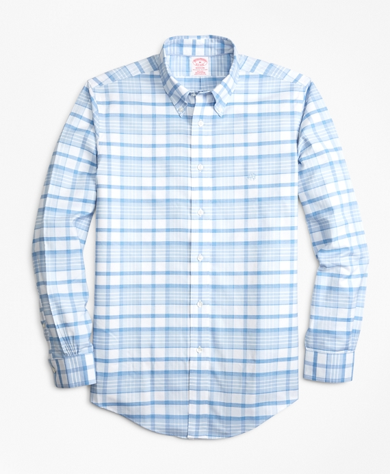Non-Iron Madison Fit Tonal Plaid Sport Shirt Blue