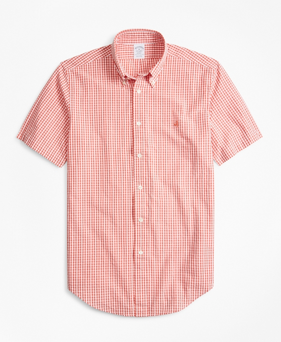 Regent Fit Gingham Seersucker Short-Sleeve Sport Shirt Coral