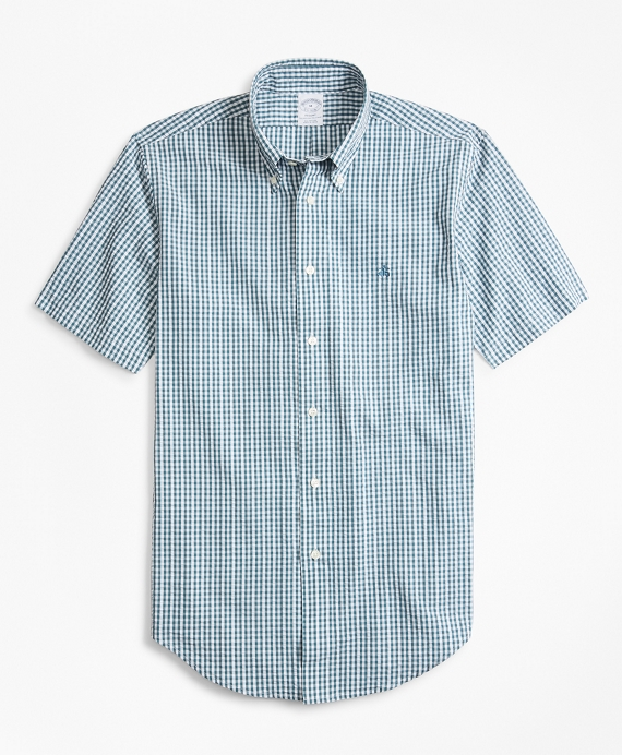 Regent Fit Gingham Seersucker Short-Sleeve Sport Shirt Green