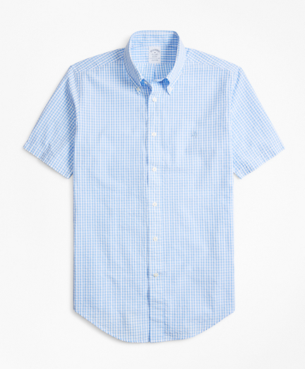 Regent Fit Gingham Seersucker Short-Sleeve Sport Shirt
