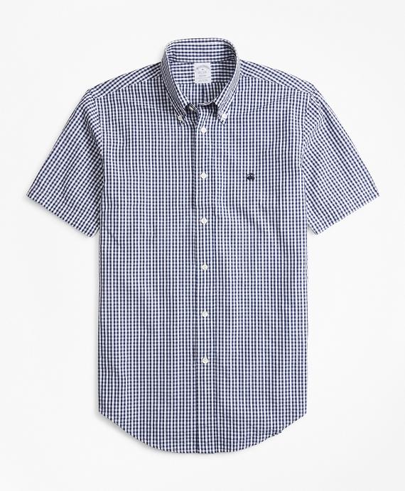 Regent Fit Gingham Seersucker Short-Sleeve Sport Shirt Navy