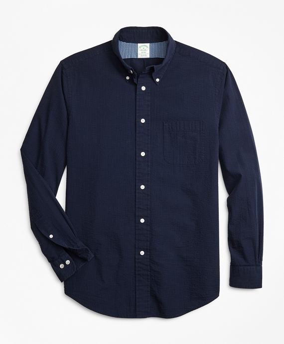 Milano Fit Seersucker Sport Shirt Navy
