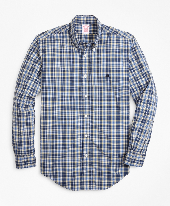 Madison Fit Graph Plaid Zephyr Sport Shirt Blue-Yellow
