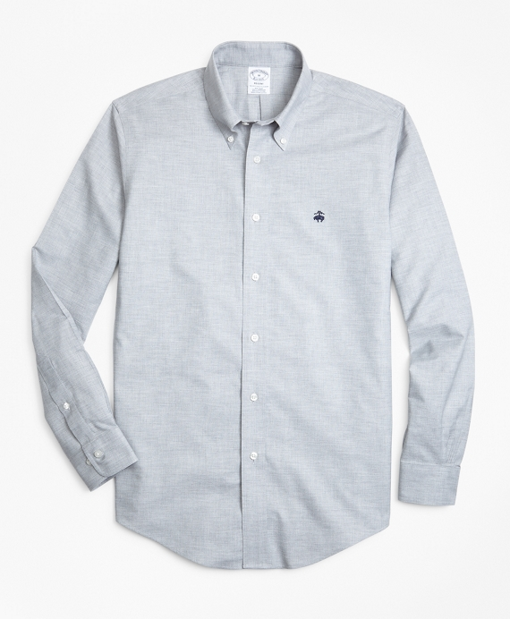 Non-Iron Regent Fit Heathered Oxford Sport Shirt Grey