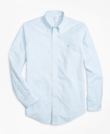 Non-Iron Regent Fit Heathered Oxford Stripe Sport Shirt