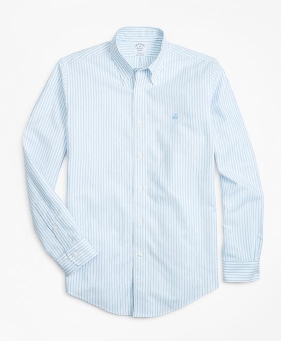 Non-Iron Regent Fit Heathered Oxford Stripe Sport Shirt Blue