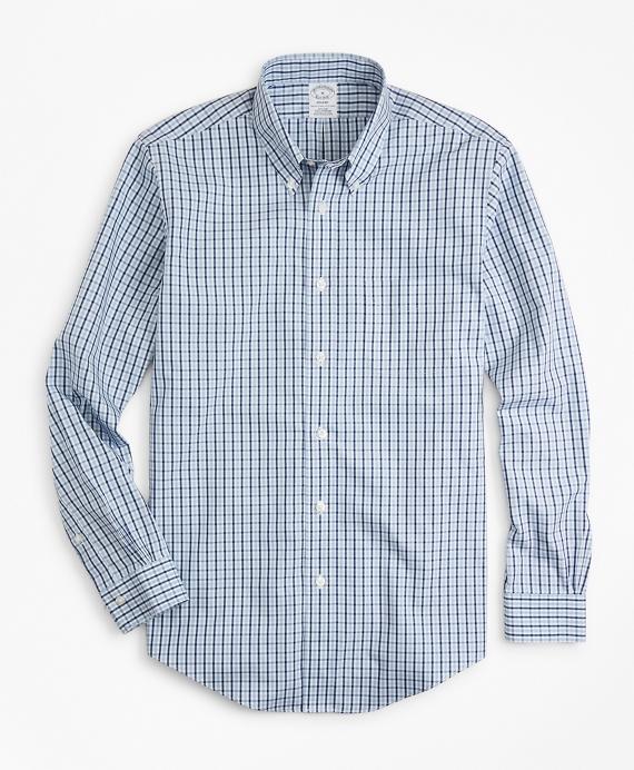 Non-Iron Regent Fit Two-Color Gingham Sport Shirt Blue