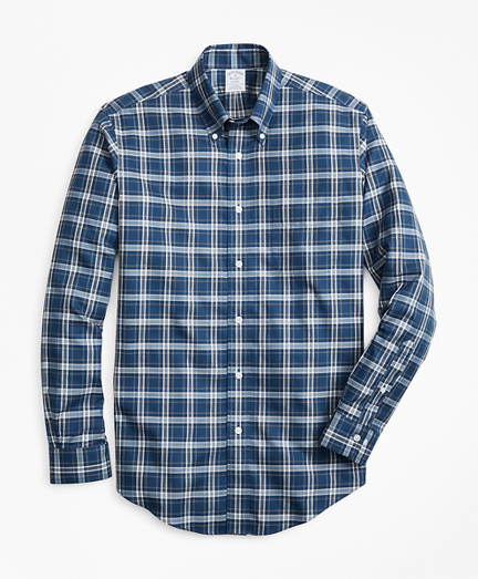 Non-Iron Regent Fit Herringbone Plaid Sport Shirt