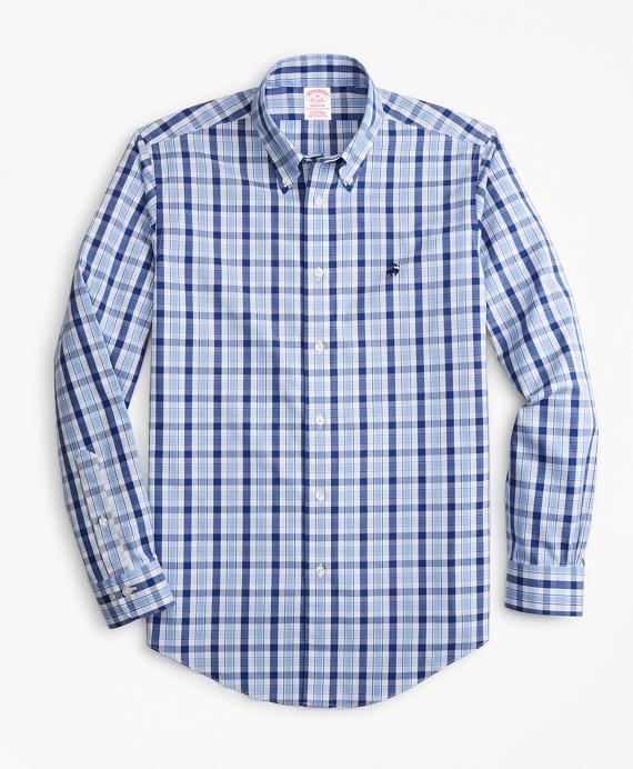 Non-Iron Madison Fit Brushed Plaid Sport Shirt Blue