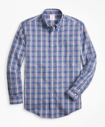Non-Iron Madison Fit Herringbone Plaid Sport Shirt