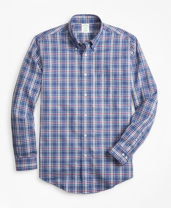 Non-Iron Milano Fit Herringbone Plaid Sport Shirt Navy