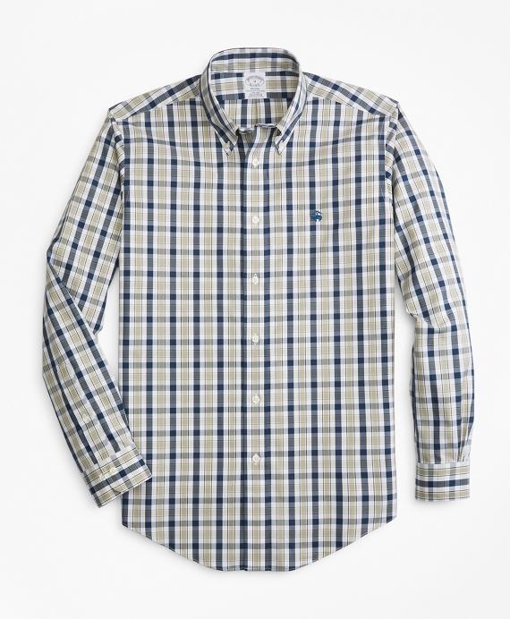 Non-Iron Regent Fit Brushed Plaid Sport Shirt Tan