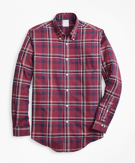 Non-Iron Regent Fit Burgundy-Navy Plaid Sport Shirt