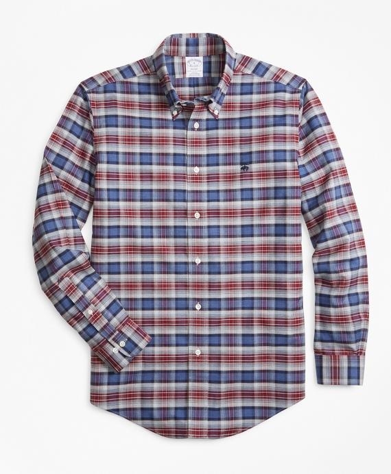 Non-Iron Regent Fit Heathered Plaid Sport Shirt Navy