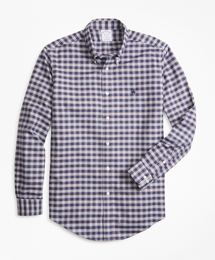 Non-Iron Regent Fit Heathered Check Oxford Sport Shirt