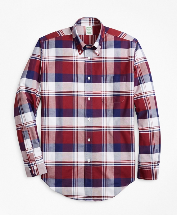 Milano Fit Oxford Large Plaid Sport Shirt Navy-Burgundy