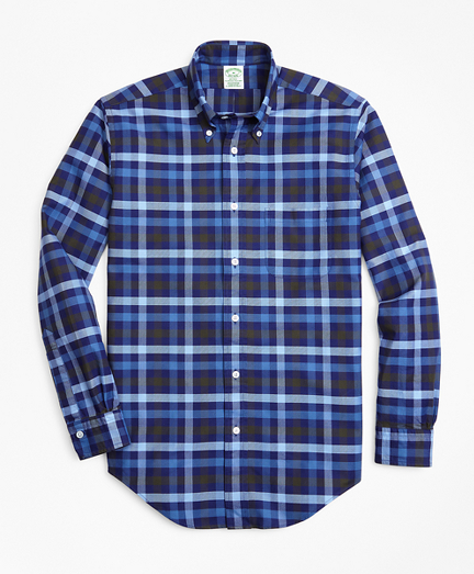 Milano Fit Oxford Two-Color Plaid Sport Shirt