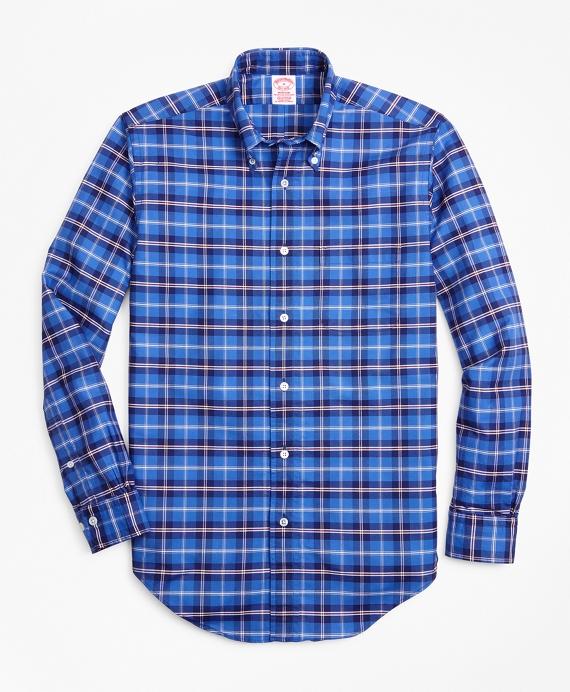 Madison Fit Oxford Plaid Sport Shirt Blue