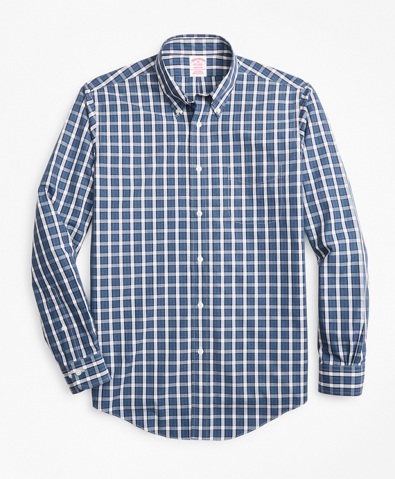 Non-Iron Madison Fit Large Check Sport Shirt Navy
