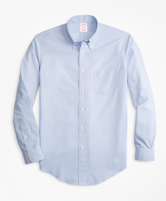 Non-Iron Madison Fit End-On-End Stripe Sport Shirt Light Blue