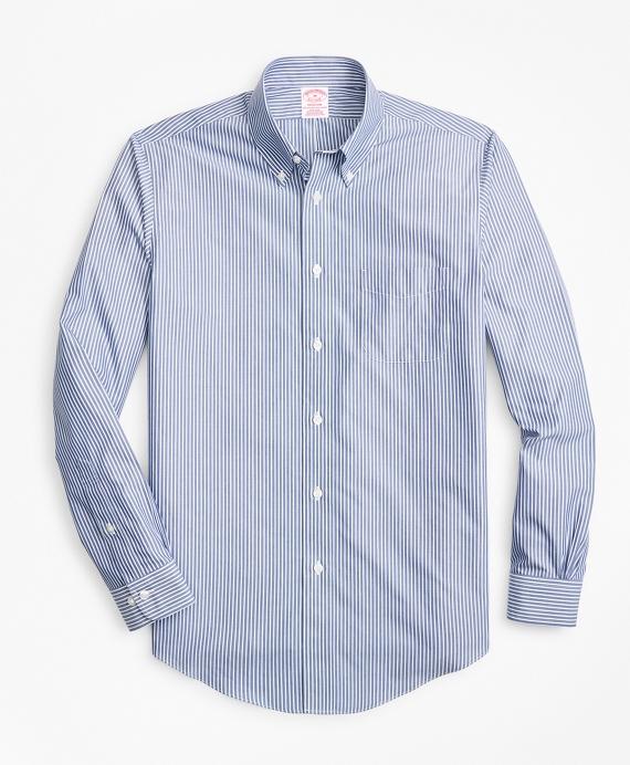 Non-Iron Madison Fit Triple-Stripe Sport Shirt Blue