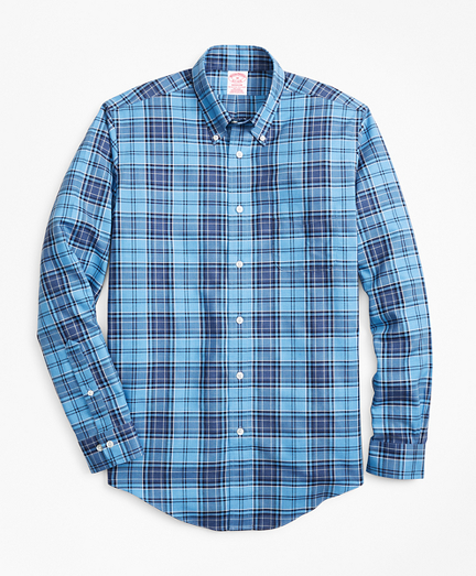 Non-Iron Madison Fit Blue Plaid Sport Shirt