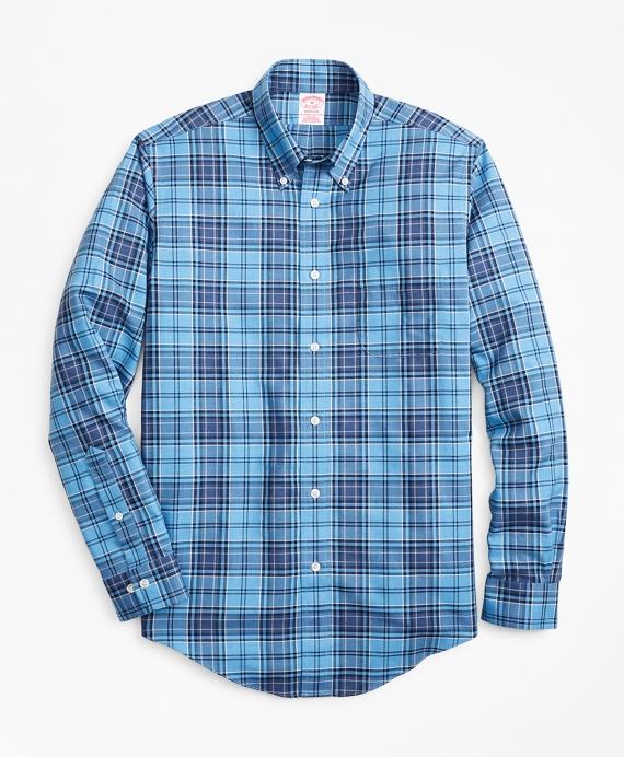 Non-Iron Madison Fit Blue Plaid Sport Shirt Blue