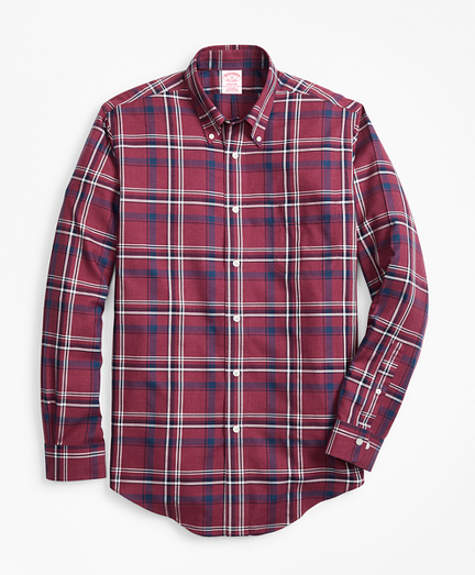 Non-Iron Madison Fit Burgundy-Navy Plaid Sport Shirt