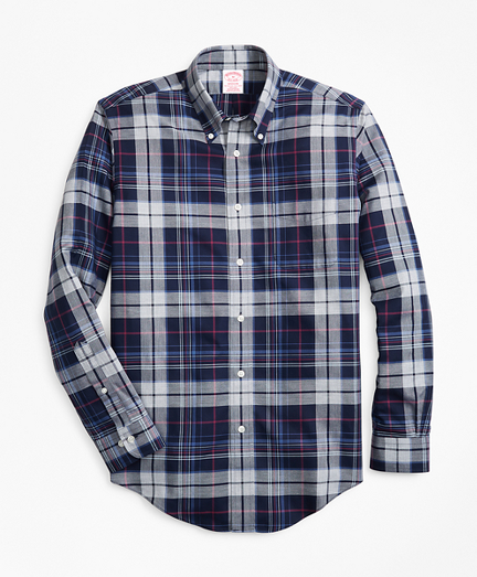 Non-Iron Madison Fit Basketweave Plaid