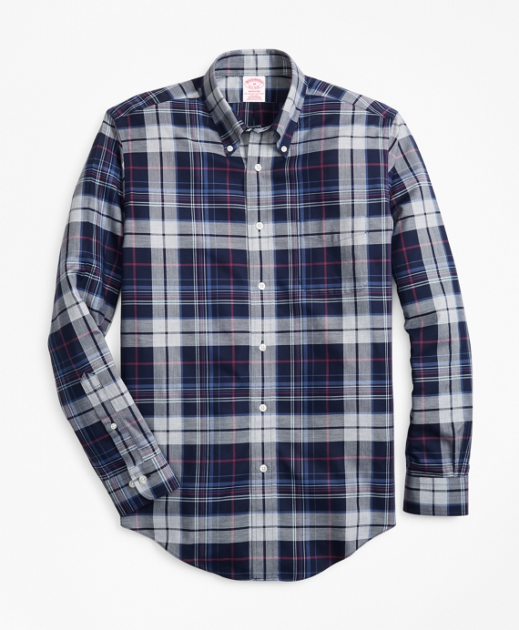 Non-Iron Madison Fit Basketweave Plaid Navy