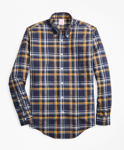 Non-Iron Madison Fit Navy-Gold Plaid Sport Shirt