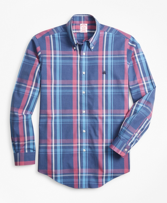 Non-Iron Madison Fit Plaid Sport Shirt Navy-Pink