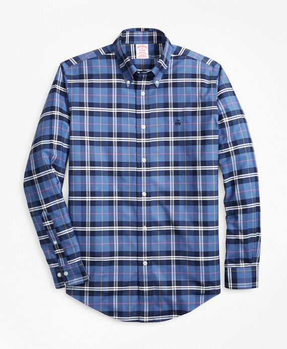 Non-Iron Madison Fit Plaid Sport Shirt Navy