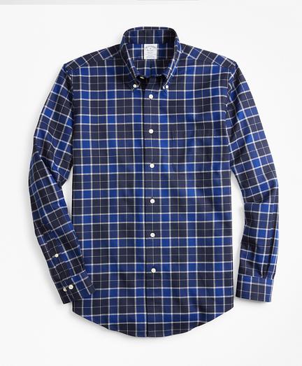 Non-Iron Regent Fit Brushed Plaid Sport Shirt