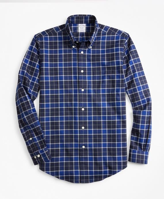 Regent Regular-Fit Sport Shirt, Non-Iron Brushed Plaid Blue