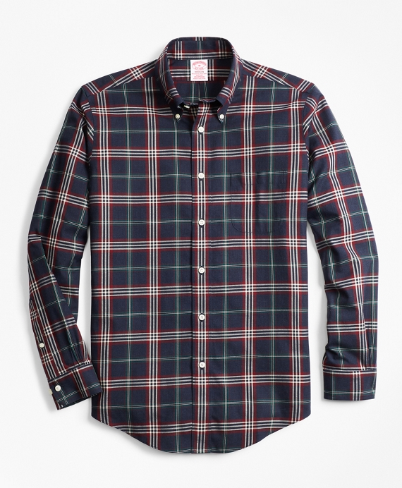 Non-Iron Madison Fit Signature Tartan Sport Shirt Navy