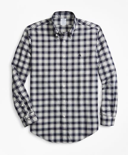 Regent Fit Plaid Brushed Oxford Sport Shirt