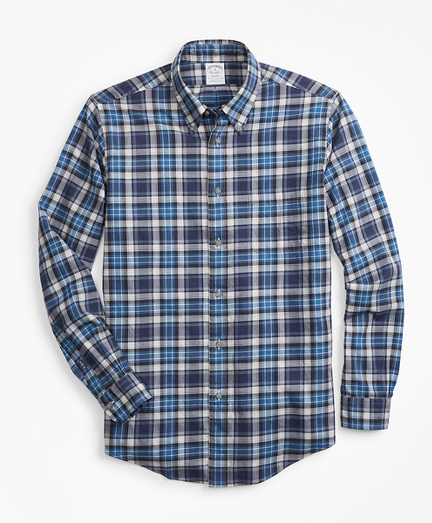 Regent Fit Blue Plaid Flannel Sport Shirt