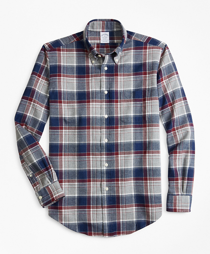 Regent Fit Multi-Plaid Indigo Flannel Sport Shirt