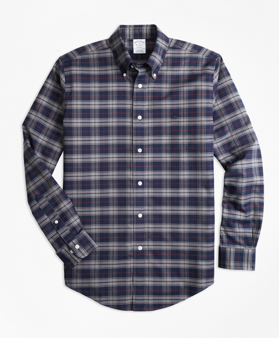 Regent Regular-Fit Sport Shirt, Non-Iron Plaid Grey