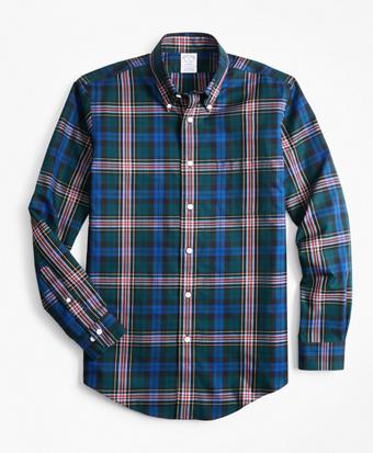 Non-Iron Regent Fit Green Tartan Sport Shirt