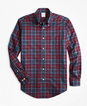 Non-Iron Regent Fit Burgundy Tartan Sport Shirt