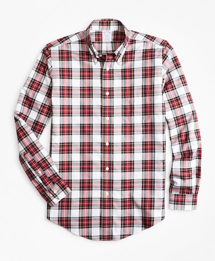 Non-Iron Regent Fit Red Tartan Sport Shirt