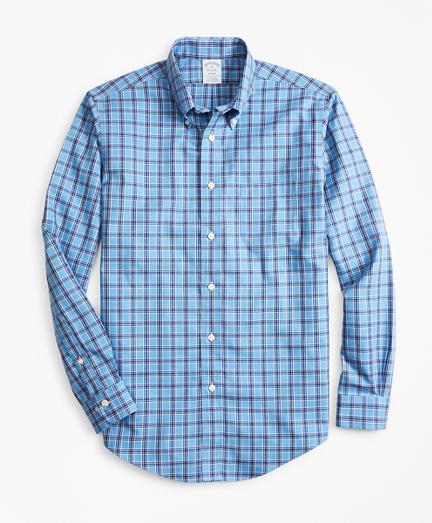Non-Iron Regent Fit Blue Check Sport Shirt