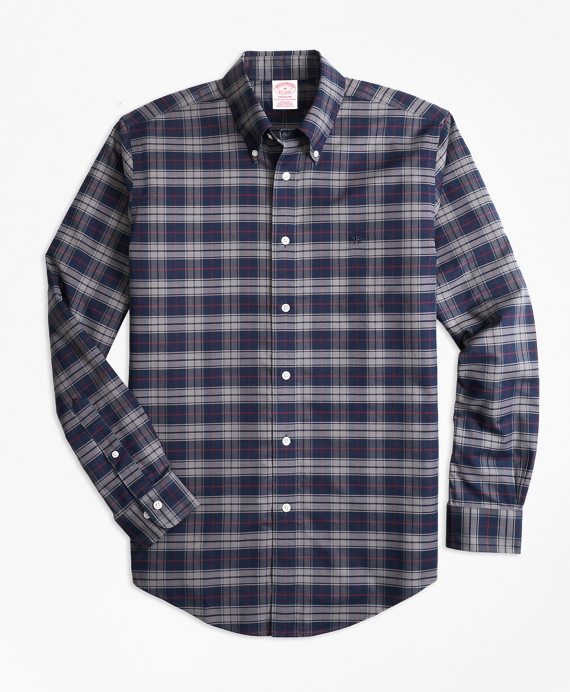 Madison Relaxed-Fit Sport Shirt, Non-Iron Plaid Grey