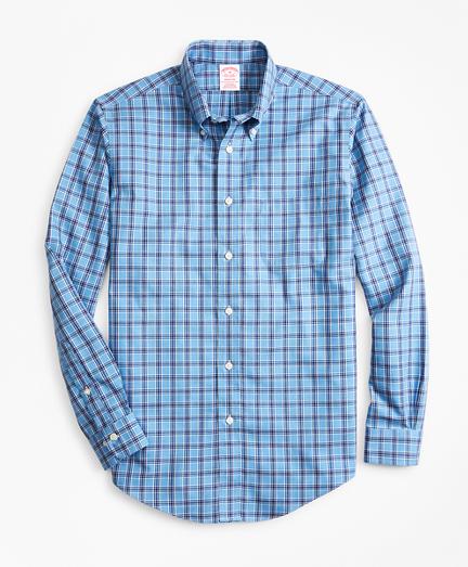 Non-Iron Madison Fit Blue Check Sport Shirt