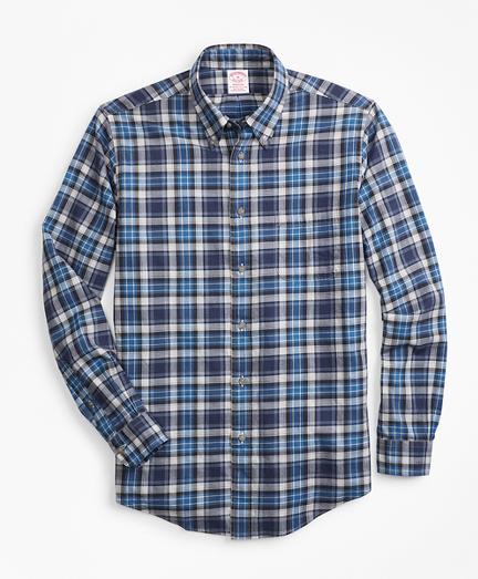 Madison Fit Blue Plaid Flannel Sport Shirt